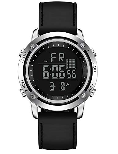 Men's Digital Sports Watch LED Screen Big Face Military Watches and Waterproof Casual Rubber Watch Alarm Simple Army Watch Black Watches Work Watches for Man