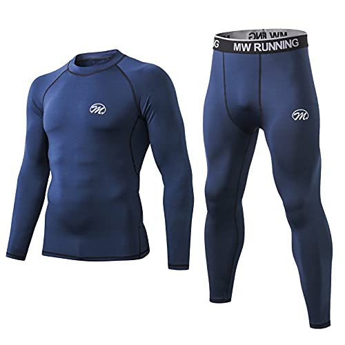 Men's Thermal Underwear Set, Base Layers Winter Gear Compression Long Johns with Fleece Lined for Skiing Blue