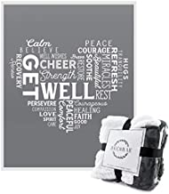 Decorae Healing Thoughts Blanket, Get Well Sherpa Fleece Throw, 5 x 4 Foot, Gray & White