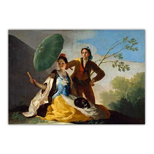 NFGGRF Francisco Goya Der Sonnenschirm, 1777 Leinwand Ölgemälde Berühmte Kunstwerk Poster Drucke Bild Wandkunst Home Decoration-70x90cm No Frame