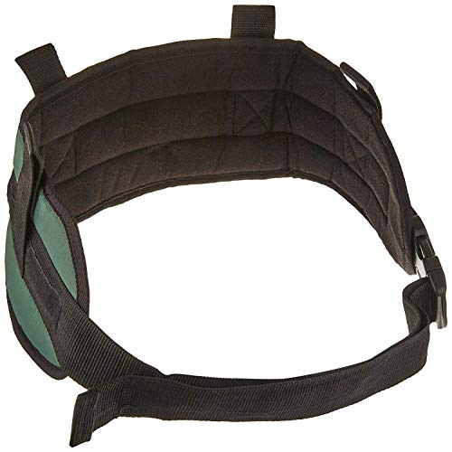 """Sammons Preston - 72806 Padded Gait Belt with Handles, 5.5"""" Wide Transfer Belt with 4 Loops & Quick Release Buckle, Limited Mobility Aid Belt for Patient Transfer & Care, Green, Medium Belt Fits 28""""-48"""" Waist"""