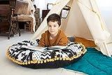 cozydots Almohada para el Suelo de los niños, cojín Redondo para niños, Hecho a Mano en UE, puf Decorativo Boho, cojín de Suelo, Asiento de Saco (Black & White)