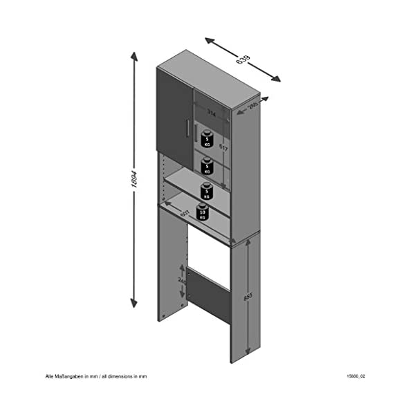 Unbekannt Olbia 2.0 Lavadoras, secadoras, repisas de Inodoro, doméstico, Armario con Dos Puertas, Madera, Blanco, 64 x…