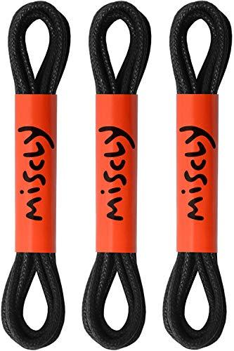 Miscly – Schnürsenkel für Anzugschuhe - Gewachst Rund Reißfest Dünn [3 Paar] – 100% Baumwolle - Ø 2.4 mm (76 cm, Schwarz)