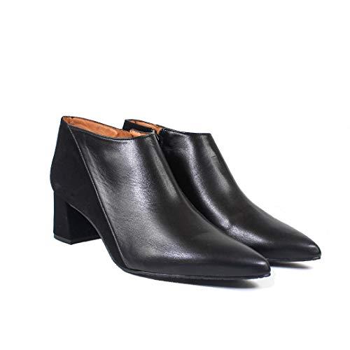 THYKET - Botines Estilosos de Vestir para Mujer en Piel con Tacon Ancho 5 cmPunta Fina - Hechos en España - Cierre Cremallera - Moda Zapatos Abotinados -