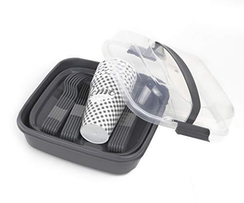 BEFA Picknick Set 6 Personen | BPA Freies Gesundes Plastik | Plastikbesteck Gabel, Messer, Löffel, Teller, Becher, Salzstreuer | Picknickkorb | Picknicktasche
