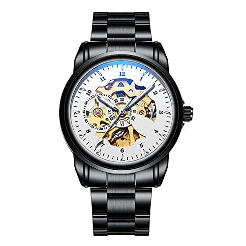 TREWQ Reloj de Acero Inoxidable de Pulsera Mecánico Automático para Hombre, Estilo Clásico Impermeable Números Esfera con Correa de Acero Inoxidable,Blanco