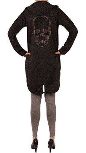 Fashion You Want Damen Cardigan Größe 38/40 bis 48/50 verfügbar offener Cardigan Strickjacke Bolero Poncho Blazer mit Trendmotiv Stern Anker Totenkopf Skull (48/50, Skull schwarz)