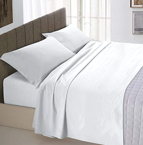 Italian Bed Linen Max Color Lenzuolo Sopra Tinta Unita, 100% Cotone, Matrimoniale, Bianco, 270 x 300 cm