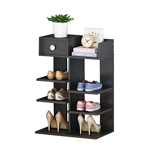 Schuhregal Schuhschrank, Türöffnung Schuhschrank Haushaltsschuhschrank Eckschuhschrank für den Eingang schmal 40x22x62cm (Farbe : SCHWARZ)