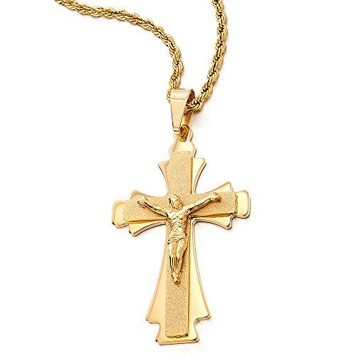 COOLSTEELANDBEYOND Grande Tre Strati Oro Colore Gesù Cristo Crocifisso Croce Ciondolo, Collana con Pendente da Uomo, Acciaio Catena 75CM