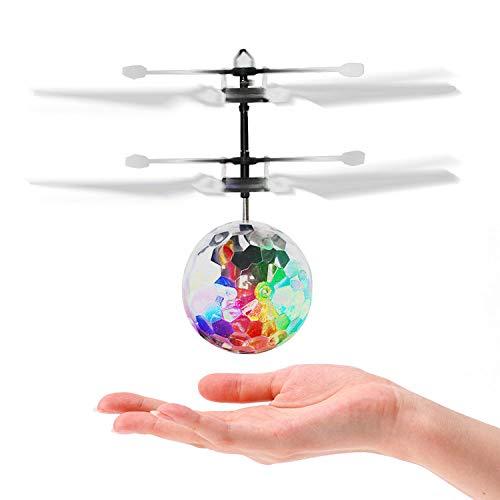 PTHTECHUS Bola Voladora, RC Flying Juguetes Built-in Shinning Iluminación LED, Dron Helicóptero, Bola de Vuelo por Inducción Infrarroja para Interiores Exteriores Regalo de Cumpleaños Niños, Adultos