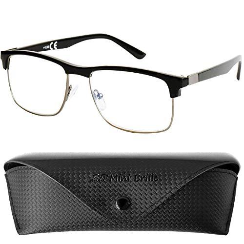 Fashion Blauwlichtfilter Rechthoekig, GRATIS Brillenkoker, Metaal Plastic Montuur (Zwart), Leesbril en Computerbril Mannen en Vrouwen +2.0 Dioptrie