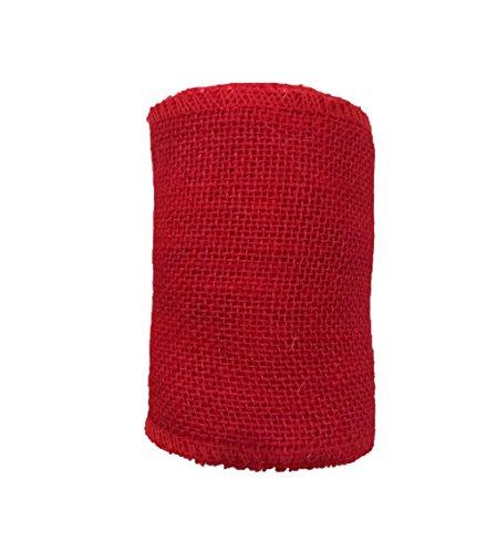 Burlap Ribbon Rolls | Red 5 Inch x 5Yards