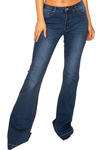 Pure Oxygen Vaqueros Acampanados Efecto Deshilachado para Mujer Jeans Estilo Flare Pierna Larga - Azul Oscuro - 32