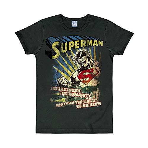 Logoshirt - DC Comics - Superman - Dernier Espoir - Slimfit T-Shirt - Noir - Design Original sous Licence, Taille XS