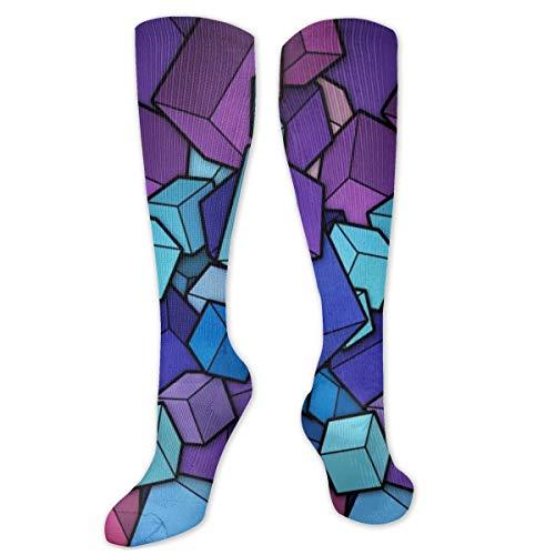 Polyester Katoen Over Knie Been Hoge Sokken Retro Unisex Dij Kousen Cosplay Boot Lange Tube Sokken voor Sport Gym Yoga-Cubes Vector