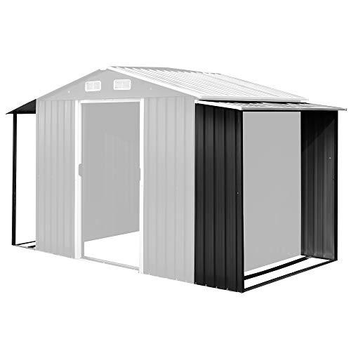 Zelsius Gerätehausanbau Set | Schleppdach 174 x 156/146 x 42 cm | Unterstand für Gartengeräte | wettergeschützt | geeignet zur Lagerung für Holz | Anbau für Geräteschuppen