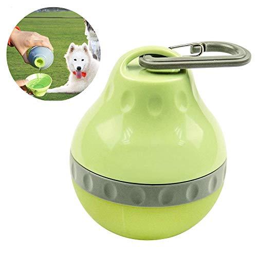 INTVN Tragbare Hund Trinkflasche Haustier Wasserflasche mit SchüSsel für Die Reise Trinknapf Antibakterielle Tragbare Reise Wasserspender Ohne Tropf Grün 200ML