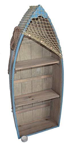 Asia Art Factory AAF Nommel®, Boot Regal 73 cm x 30 cm x 11cm, Kiefernholz, Maritim Dekor im Shabby Look, Nr. 012