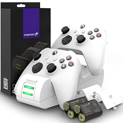 Fosmon DUAL 2 MAX Stazione di Ricarica Compatible con Controller Xbox Series X/S (2020), Xbox One/One X/One S Elite Controllers, (Dual Slot) Caricabatteria e 2x 2200mAh Batteria Ricaricabile - Bianca