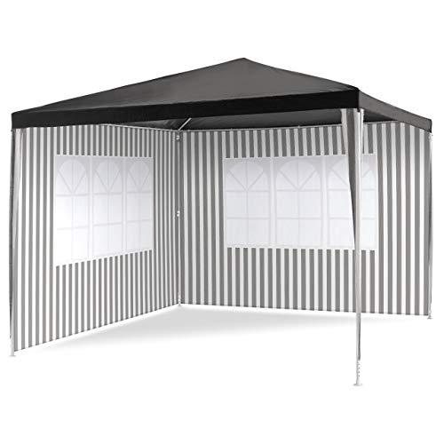 Nexos Pavillon 3x3 m in PE Plane 100g/m² + 2 Seitenteile mit Fenster Partyzelt Gartenzelt Sonnenschutz Stahlgestell Eventzelt Farbe wählbar (Anthrazit)