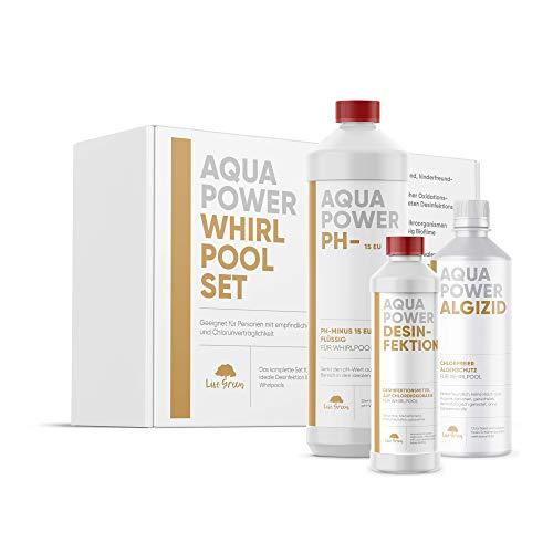 Aqua Power Whirlpool Set | komplett Set zur Wasserpflege für Whirlpool | chlorfreies Algizid - Desinfektion/Sytsemreiniger - pH - Minus | Messbecher | hochwirksame Konzentrate - extrem ausgiebig