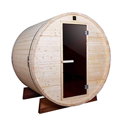 ALEKO SB5PINE Outdoor and Indoor 5 Person White Pine Barrel Sauna with 4.5 kW ETL Certified Heater