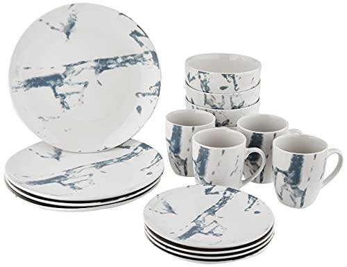 American Atelier Marble 16 Piece Round Dinnerware Set, 10.5x10.5,...