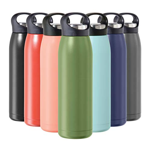 OGGI Freestyle Stainless Steel Insulated Water Bottle- Double Wall Vacuum Insulated, Travel Thermos, 23oz(680ml), Olive