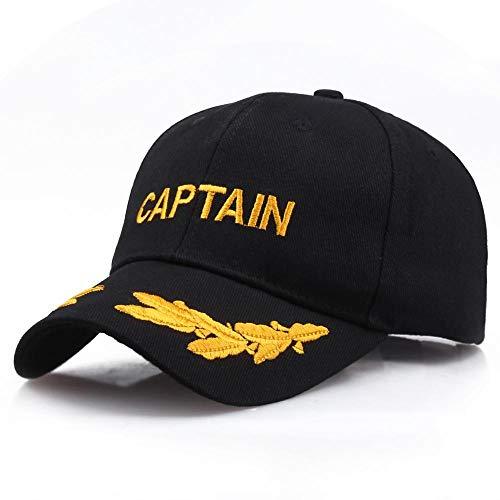 QIANWEIXI Baseball Cap Herren Schwarzer Kapitän Military Baseball Caps Commemorative Hat Unisex-Stickmütze Lässige Hüte Schwarzer Sonnenhut Outdoor-Sportmütze