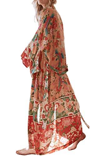 L-Peach Damen Schnelltrocknend Kimono Kaftan Langes Kleid Strandkleid Bikini Cover Ups