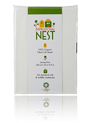 Premium Organic Baby Crib Sheet - 100% Turkish Cotton - Off-White Jersey Knit - Snug Fit, Ultra-Comfy, Clean and Safe Sheets - GOTS Certified - (Natural - Ecru Color)
