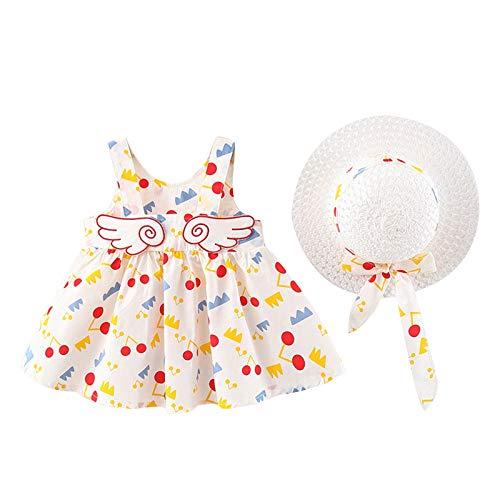 Vestido de bebé niña Vestido de Tirantes de Verano Sin Mangas Cuello Redondo Lindo Vestido de Chaleco Estampado con Sombrero para el Sol (1-5 años)