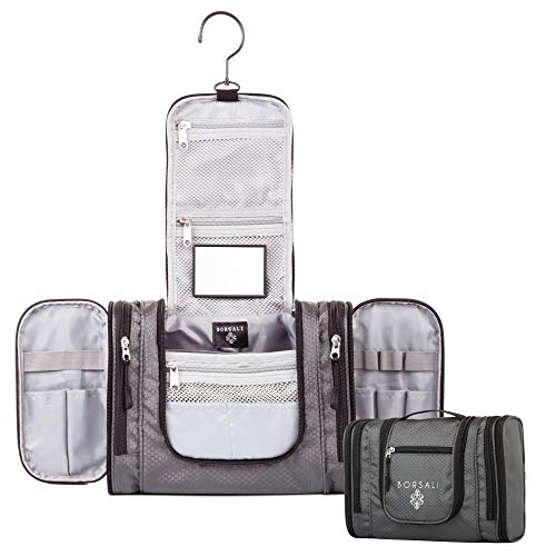 Hanging Toiletry Bag for Women and Men - Borsali - Gray...
