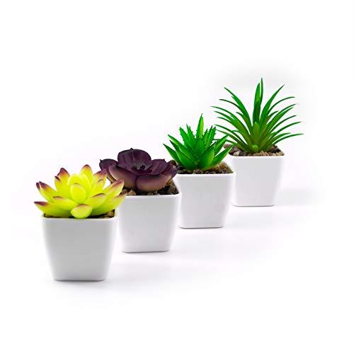 Sukkulenten Künstlich, 4 Stück Süße Deko Pflanzen im Topf, Künstliche Pflanze für zu Hause, Büros, Badezimmer, Bücherregal, TV-Tisch, Toiletten Deko