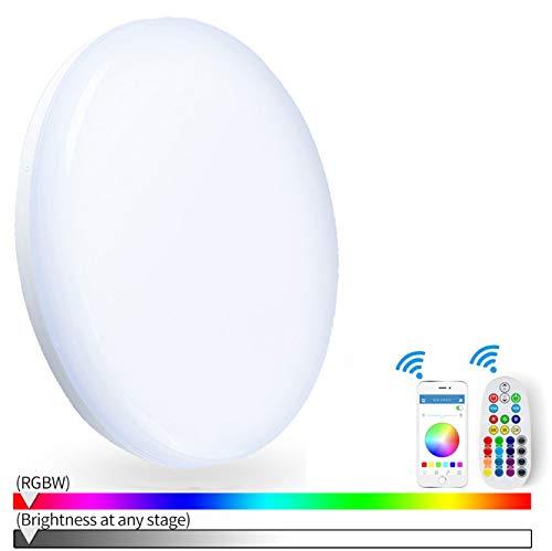 LED Deckenleuchte dimmbar 24W arbeitet mit Alexa, Google Home, App und Fernbedienung Wifi Smart RGB Farbwechsel LED Deckenlampe für Kinderzimmer, Party, Wohnzimmer, Schlafzimmer