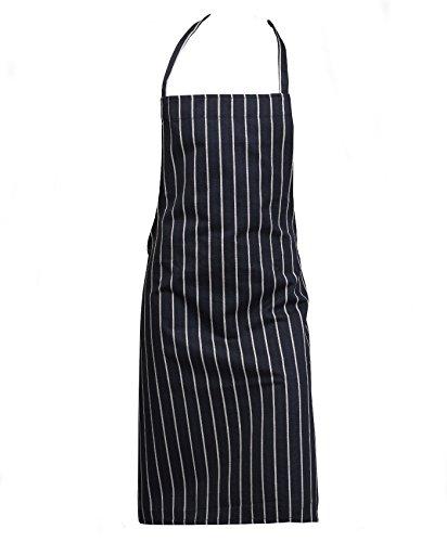 Professional 100% Cotton Woven Stripe Butchers Kitchen Cooks Apron Navy Blue (Pack of 5)