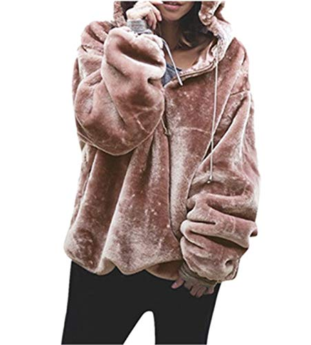 Moonuy Frauen Langarm-Hoodie Damen Flauschige Pullover Warm Outwear Fashion Warm Kapuzenpullover Sweatshirt Oversize Coat Mantel (EU 40 / Asien XL, Rosa)
