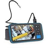 HUIXINLIANG Endoscopio Cámara del endoscopio, cámara de inspección de boroscopio de Doble cámara de 1080p con cámara de Serpiente Impermeable de 4,5'HD Monitor-16FT con 6 Luces LED, Cable semirrígido