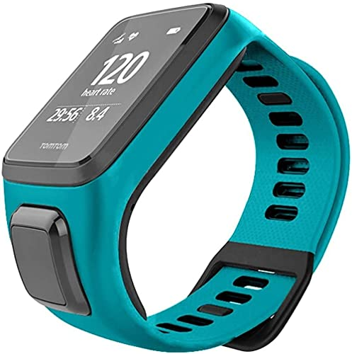 AMBM Original Colorful Soft Silicone Replacement Wrist Band Strap for TomTom Runner 2 3 Spark 3 Smart Watch Bracelet (Color : Green)-Blue Green