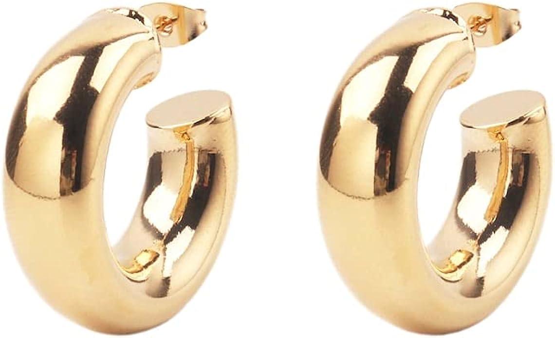 Custom Handmade 1 Pair Dainty 23kt USA Gold Filled Round Bold Chunky Smooth Hollow Tube Hoop Earrings Lightweight Minimalist Wholesale Bulk