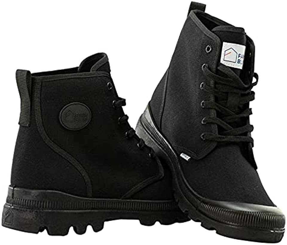 Mens Hiking Boots - Rugged Outdoor Ranger Boot - Extreme Water Resistant High Top Canvas Trekking Ankle Shoes For Men With Cushioned Insole With Arch Support & Wrap Around Rubber Sole