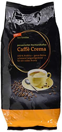 tegut... vom Feinsten, Caffè Crema ganze Bohnen (1 kg, peruanischer Hochlandkaffee - Bio 100% Arabica Röstkaffee aus kontrolliert ökologischem Anbau - aus dem Hochland Mittel- und Südamerikas)