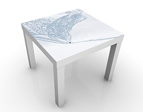 Apalis Table Basse Design Skier in The Alps 55x55x45cm, Tischfarbe:Weiss;Größe:55 x 55 x 45cm