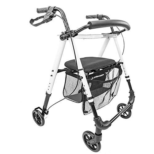 IR10+ Indoor Rollator - Gehwagen - Leichtgewicht, schmal und kompakt für den Gebrauch in Haus und Wohnung, klappbar, Höhe einstellbar, Weiß, inkl. Netz + Tablett