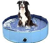 Haustier Schwimmbecken Für Kleine Große Hunde Katzen Wasser Spielen,Oversize Tragbar Hundepool Doggy Pool,Home Use Folding Haustier Duschpool,Faltbare Haustier Badewanne Blau Durchmesser120cm(47inch)