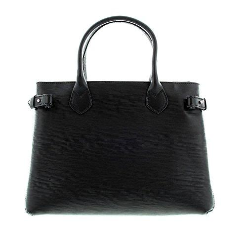 IO.IO.MIO Design Tasche Damen Handtaschen Tragetasche echt Leder Frauen Shopper Handtasche Damentasche Ledertasche Taschen schwarz, 33x24x16 cm (B x H x T)