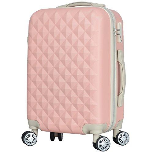 BASILO-012 キャリーバック スーツケース キャリーケース 人気 かわいい Mサイズ 48L 4〜7日用 TSA キルト風 (フルーツピンク, m)