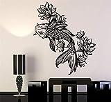 Autocollant Décalque de mots Mots Mur Disant Mots Muraux Amovibles Poisson d'Or Aquarium Lotus Fleur Style Asiatique